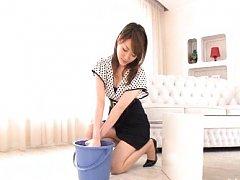 Akari Hoshino Asian with sexy legs has boobs fondl...