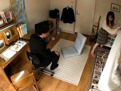 Japanese AV Model calls man in her room with naugh...