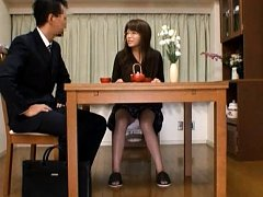 Japanese AV Model with specs spreads legs while ta...