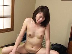 Hisae Yabe Asian gets cum on jugs while is still f...