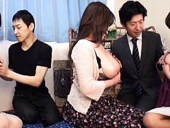 Japanese AV Model and two dames with big tits kiss...
