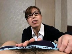 Japanese AV Model with specs takes man pants off w...