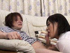 Japanese AV Model sucks and licks cock over fellow...