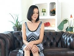 Ayumi Takanashi Asian takes her dress and bra off...