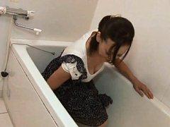 Ayumi Takanashi Asian rubs dick and showers her ra...