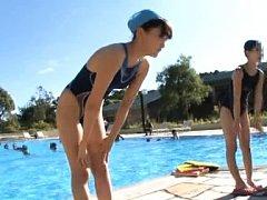 Japanese AV Model has no bath suit at pool surroun...