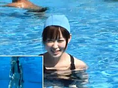 Japanese AV Model loses her swimming suit in pool...