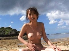 Rei Aoki Asian doll gets sperm drops on fine chest...