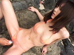Koharu Tachibana Asian gets vibrator in oiled nook...