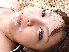 Meguru Kosaka Asian with huge hooters lays with cu...