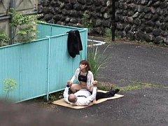 Japanese AV Model with semi exposed boobs rides do...
