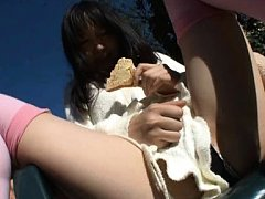 Hitomi Fujiwara in long socks spreads legs while e...