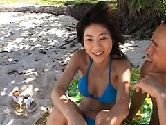 Rin Suzuka Asian has peach rubbed over bikini by d...