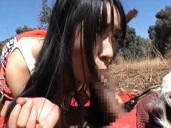Hitomi Fujiwara Asian hippy gives blowjob to fello...