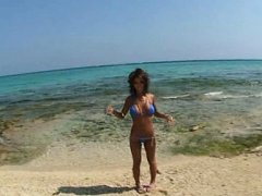 Ema Kisaki Asian has big jugs touched on beach by...
