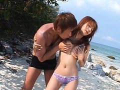 Rino Konno Asian has peach rubbed and boobs caress...