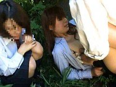 Japanese AV Model is kissed and fucked in garden n...