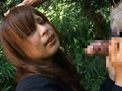 Japanese AV Model in uniform pees in garden and to...