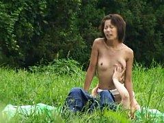 Japanese AV Model with nude titties has slit rubbe...