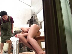 Japanese AV Model nude has boobies touched while s...