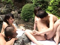Japanese AV Model is kissed and fondled in front o...