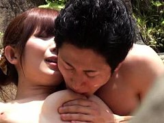 Japanese AV Model has push ups fondled by naked ma...