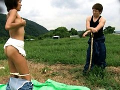Japanese AV Model rubs her pussy of fork stick and...