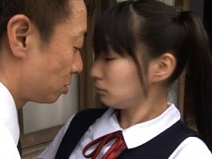 Sae Aihara Asian in uniform is kissed with passion...