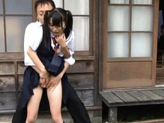 Sae Aihara Asian in uniform has boobs touched in b...