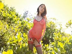 Angel Asian honey loves to caress her sexy body in...