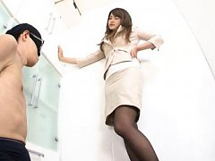 Sumire Asian has sexy legs licked over nylon stock...