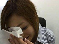 Karen Fujiki Asian smiles after getting cum on her...
