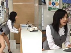 Japanese AV Model in office suit is doggy fucked a...