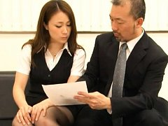 Rin Ayame Asian in office suit is kissed by her ho...