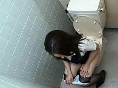 Rin Ayame Asian in office uniform fools around wit...