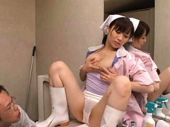 Yuu Kawakami Asian cleaning woman fondles her tits...