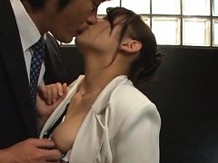Chihara Nakai Asian has legs touched over stocking...
