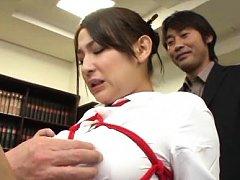 Chihara Nakai Asian has boobs tied in ropes and to...