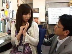 Japanese AV Model in cute office outfit is shy whe...