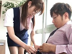 Japanese AV Model in uniform takes boss cock in mo...