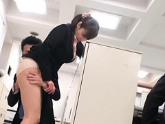 Azumi Asian has stockings off and ass kissed by bo...