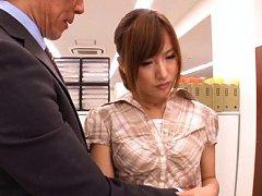 Kokone Mizutani has her clothes taken off by her h...