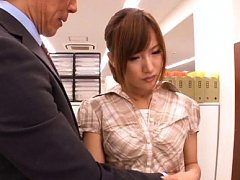 Kokone Mizutani has her clothes taken off by her h...