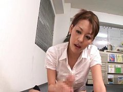 Risa Murakami Asian records man on camera while ri...