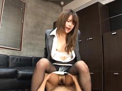 Sumire Asian in office suit rides phallus wit will...