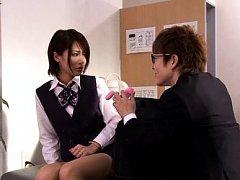 Yuuki Natsume Asian has office uniform taken off b...