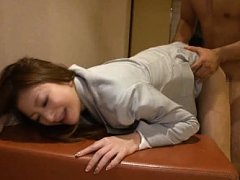 Karen Fujiki Asian with jugs out of office suit is...