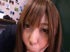 Mina Minamoto Asian in uniform sucks and masturbat...