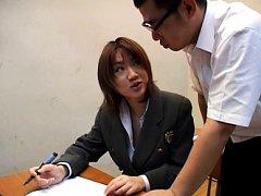 Ai Mizuno Asian in uniform sucks teacher cock for...