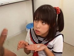 Yuika Seno Asian in sailor gal uniform rubs penis...